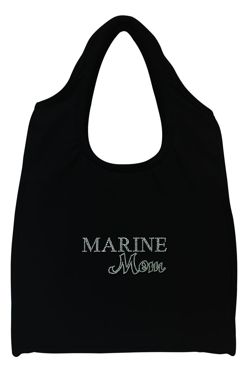 Marine Mom Full-Size Rhinestone Logo Tote Bag