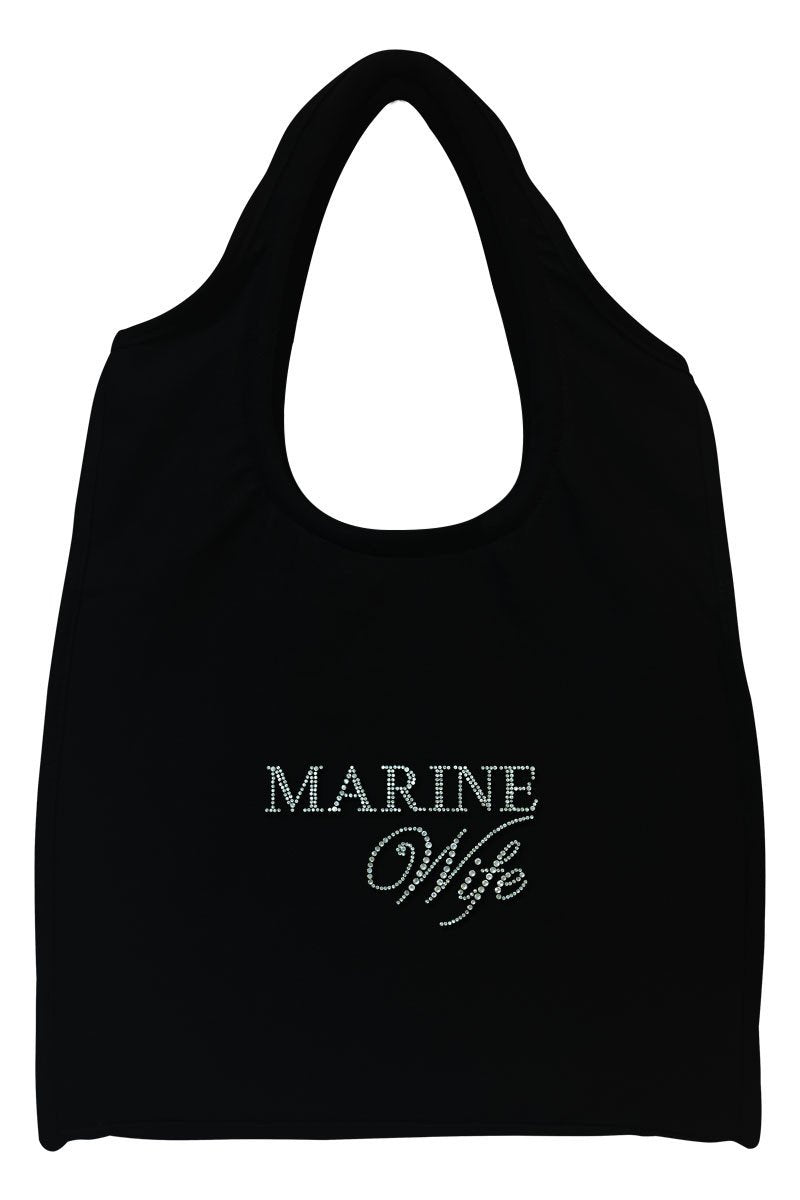 Marine Wife Full-Size Rhinestone Logo Tote Bag
