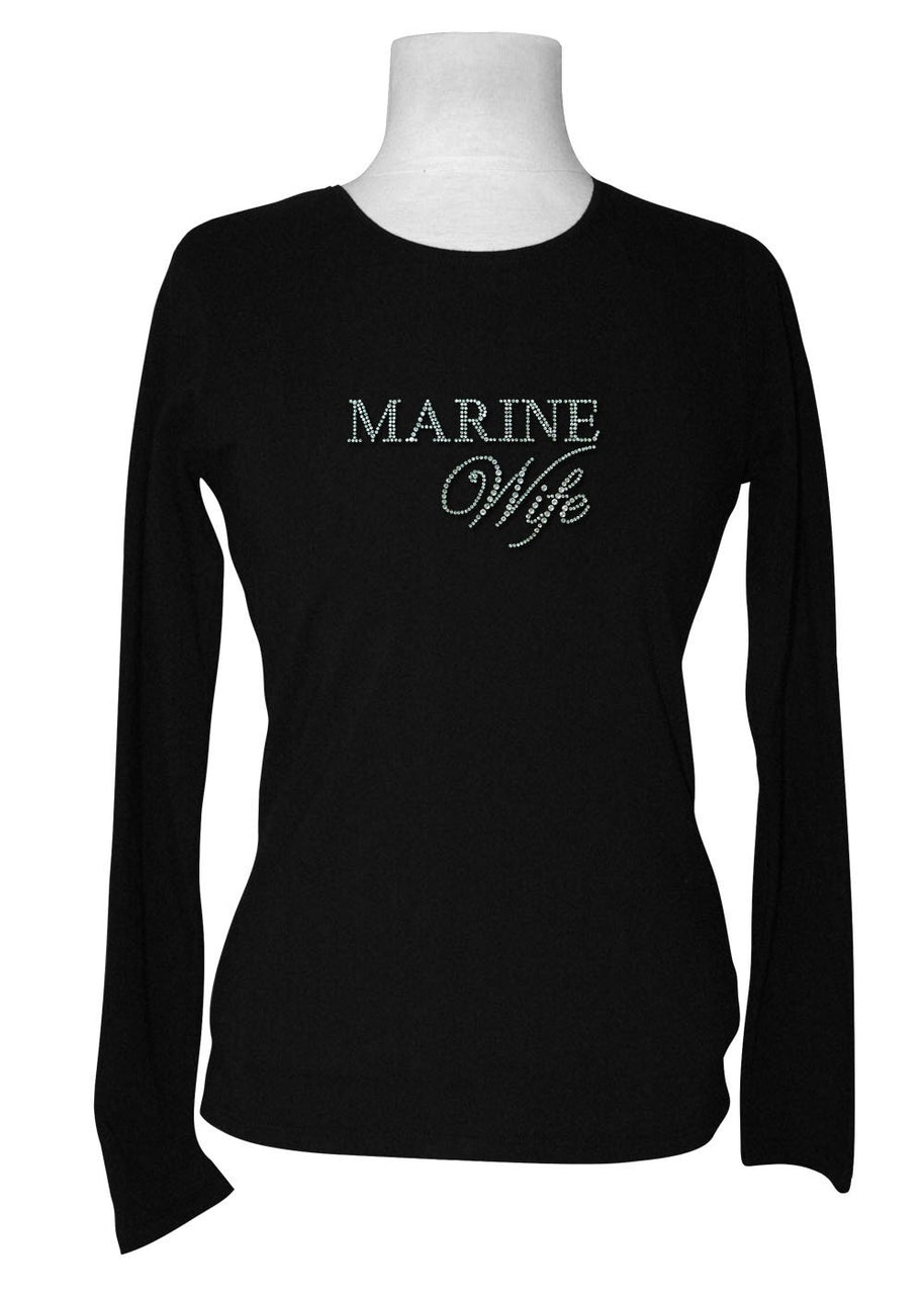 Marine Wife Rhinestone Long Sleeve Tee
