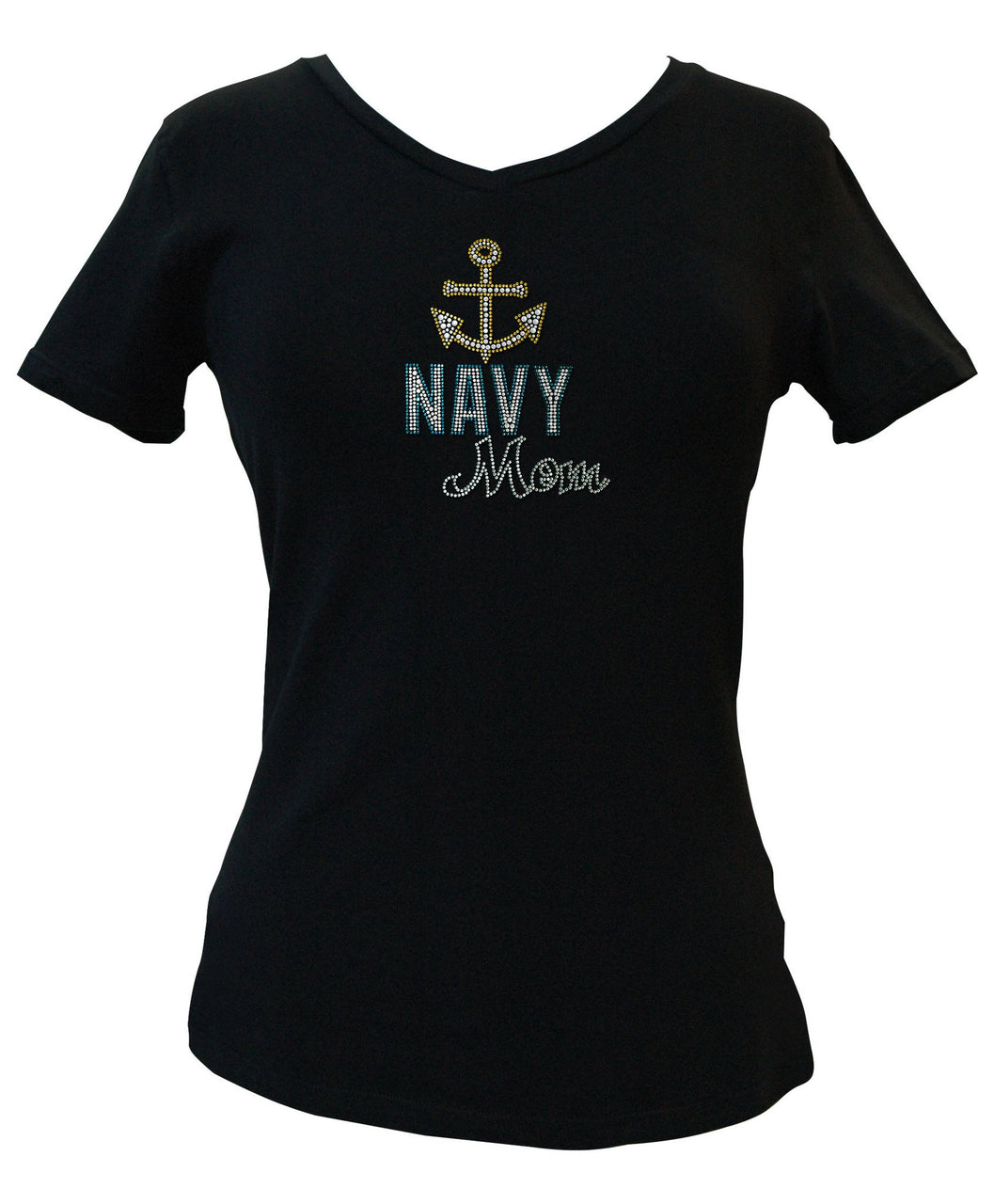 Navy Mom Rhinestone V-Neck Tee