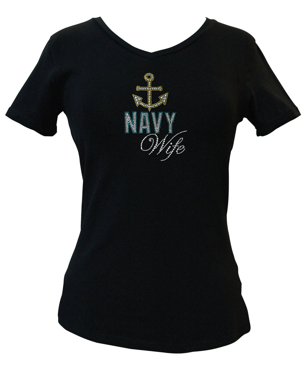 Navy Wife Rhinestone V-Neck Tee