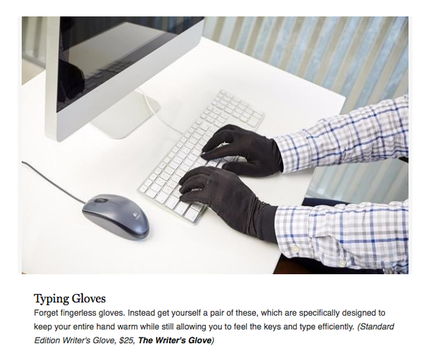 Gloves for typing cold air conditioning office