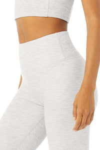 Alo Yoga XS High-Waist Micro Waffle Lowkey Legging - Dove Grey Heather