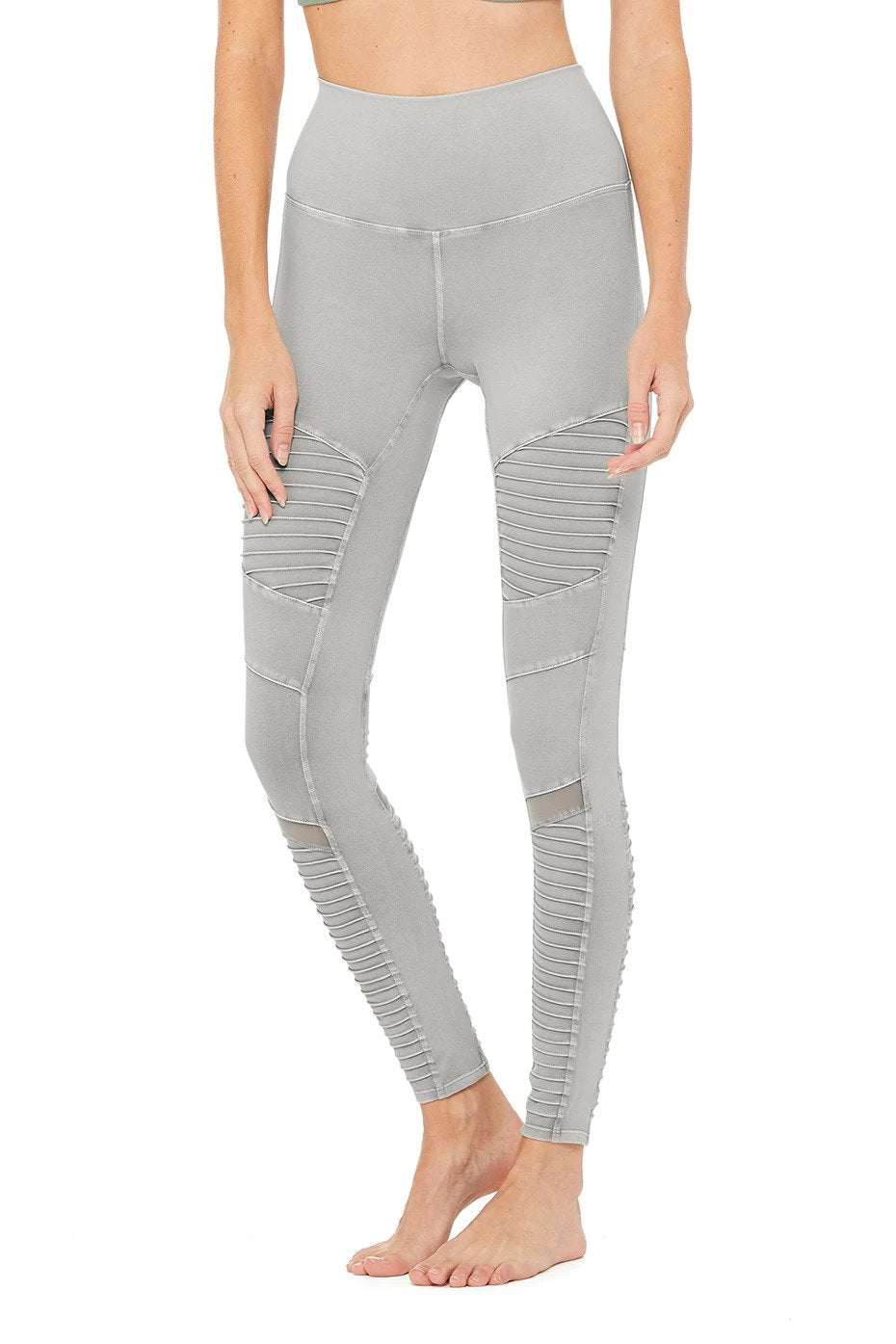 Alo Yoga XS High-Waist Washed Moto Legging - Lead Wash