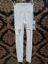 Load image into Gallery viewer, Alo Yoga SMALL High-Waist Ripped Warrior Legging - White