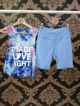 Load image into Gallery viewer, Spiritual Gangster XS Peace Love Light Tie Dye Crop Tank - Nebulous Tie Dye