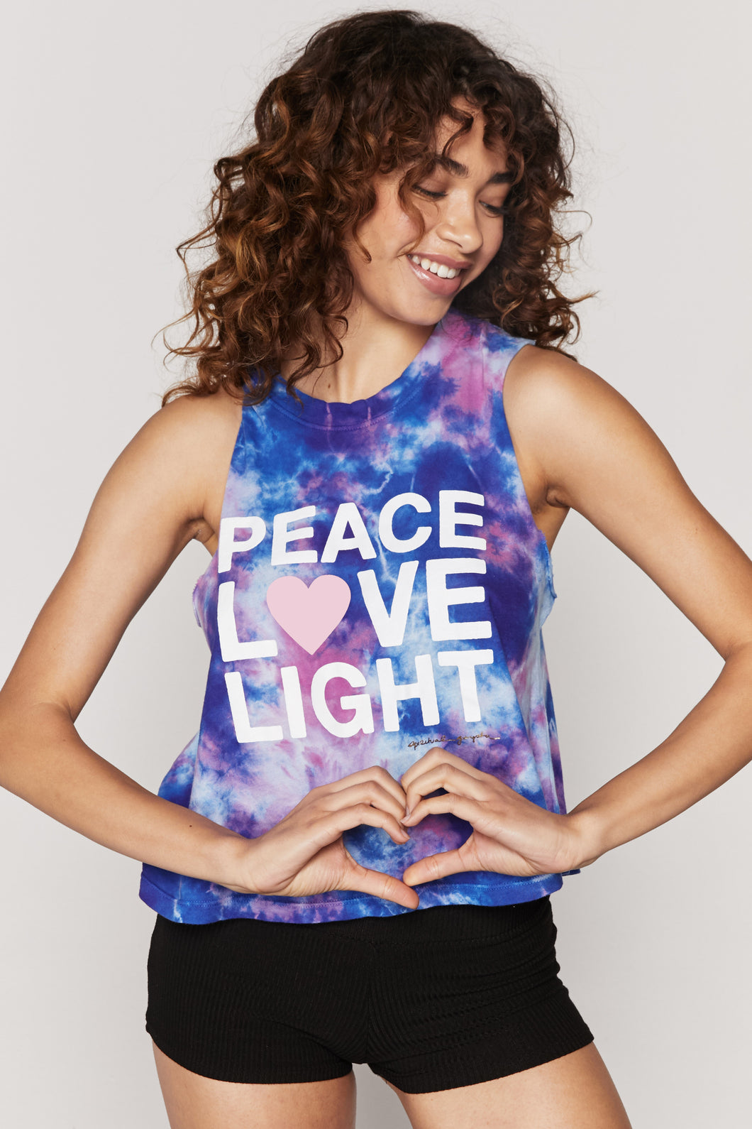 Spiritual Gangster XS Peace Love Light Tie Dye Crop Tank - Nebulous Tie Dye