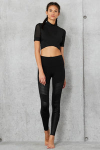Alo Yoga XS High-Waist Moto Legging - Black Glossy
