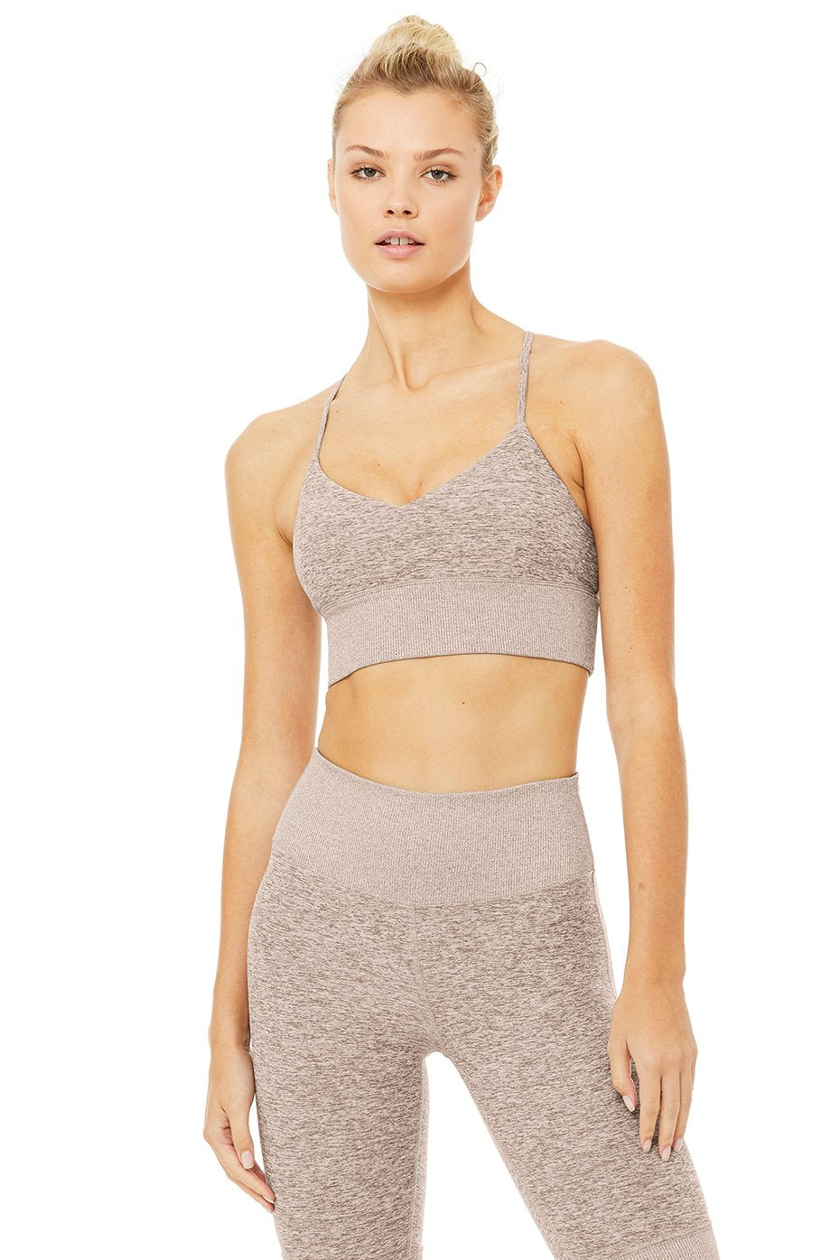 Alo Yoga MEDIUM Alosoft Lavish Bra - Gravel Heather