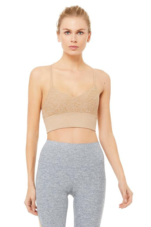 Alo Yoga SMALL Alosoft Lush Bra - Caramel Heather