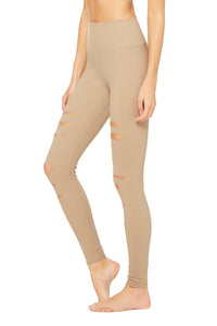 Alo Yoga XS High-Waist Ripped Warrior Legging - Gravel