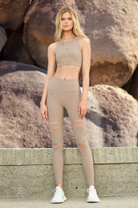 Alo Yoga SMALL High-Waist Ripped Warrior Legging - Gravel
