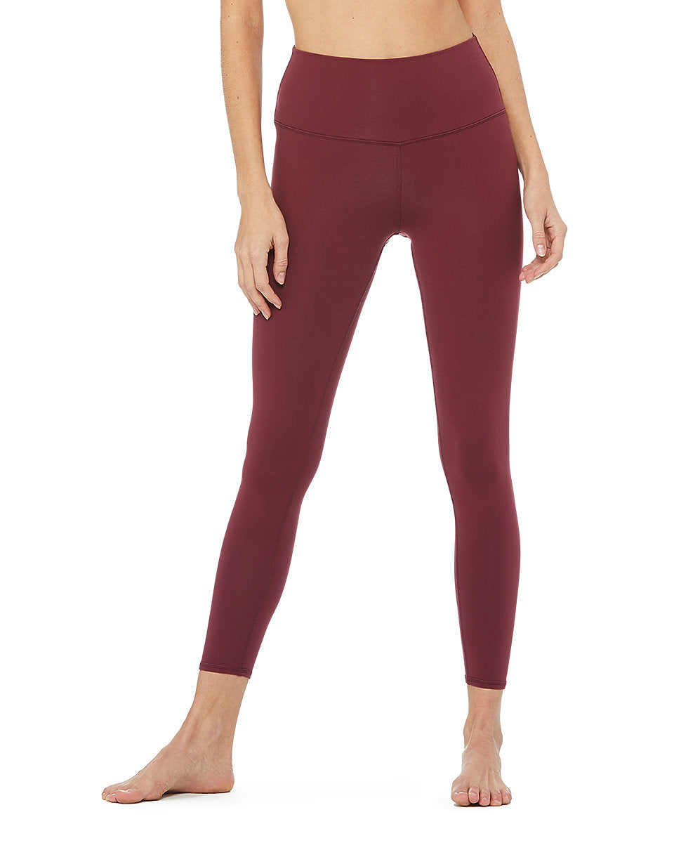 Alo Yoga 7/8 High-Waist Airbrush Legging - Black Cherry