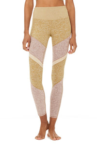 Alo Yoga XXS 7/8 High-Waist Alosoft Sheila Legging - Caramel Heather/Gravel Heather/Putty