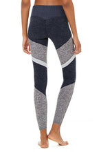 Load image into Gallery viewer, Alo Yoga XXS 7/8 High-Waist Alosoft Sheila Legging - Rich Navy Heather/Dove Gray Heather/Zinc Heather