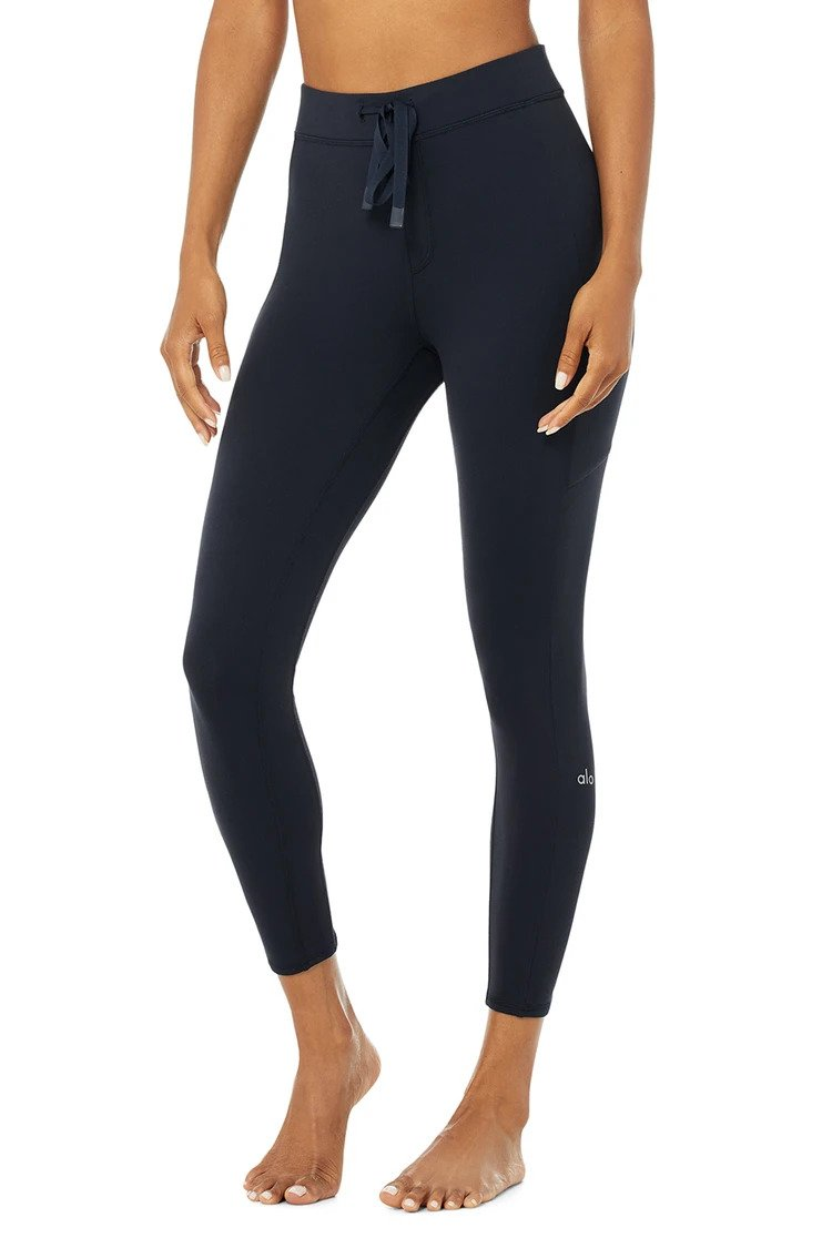 Alo Yoga SMALL 7/8 High-Waist Checkpoint Legging - Dark Navy