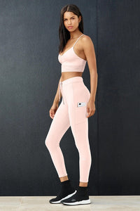Alo Yoga XXS 7/8 High-Waist Checkpoint Legging - Pink Mauve