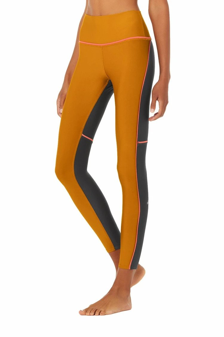 Alo Yoga SMALL 7/8 High-Waist Element Legging - Bronzed/Anthracite
