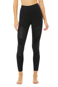 Alo Yoga XXS 7/8 High-Waist Moto Legging - Black Glossy