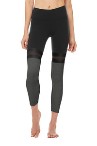 Alo Yoga SMALL 7/8 Player Legging - Black/Charcoal Heather