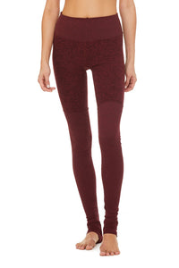 Alo Yoga XS High-Waist Alosoft Goddess Legging - Black Cherry Heather
