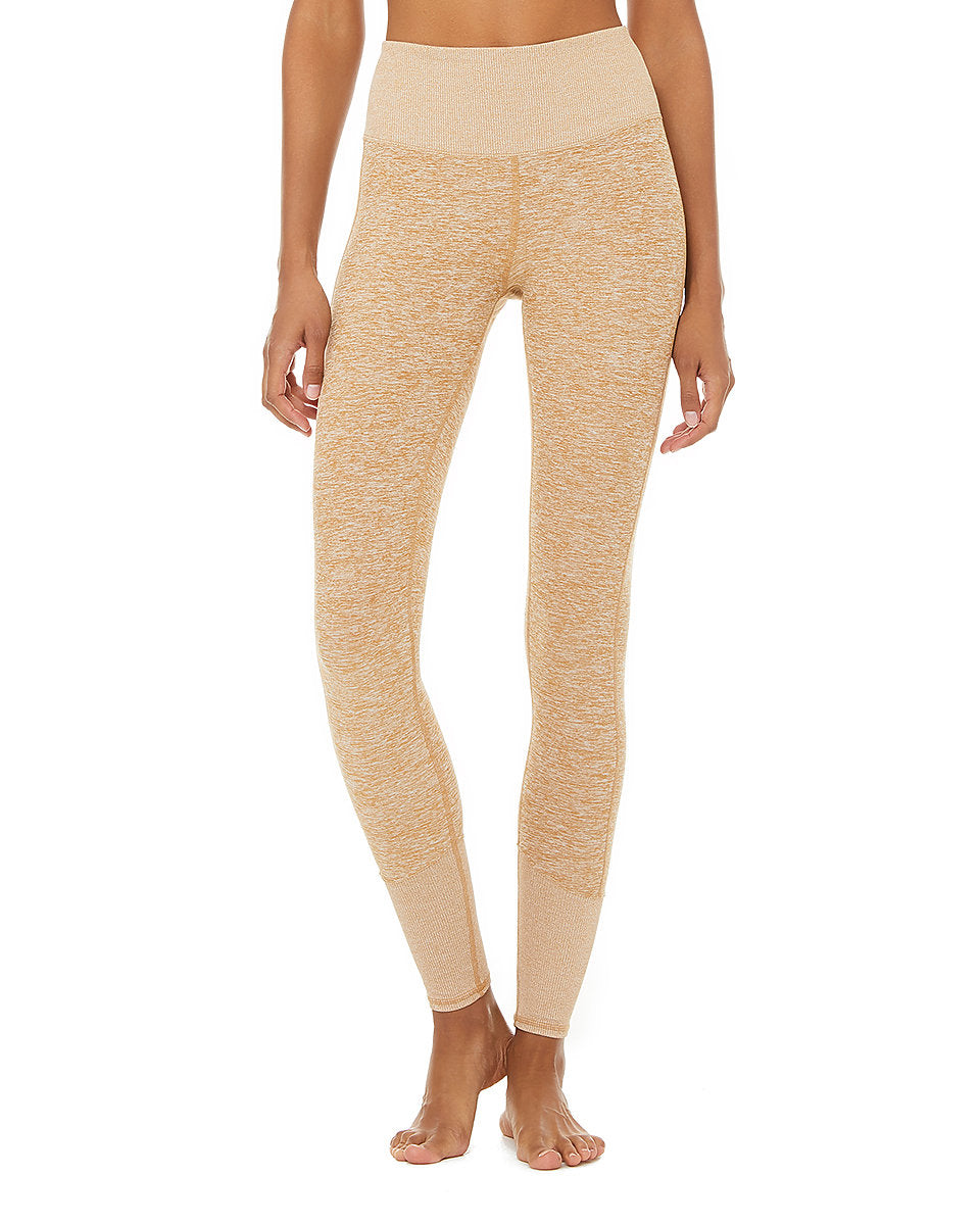 Alo Yoga SMALL High-Waist Alosoft Lounge Legging - Caramel Heather