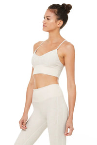 Alo Yoga SMALL Alosoft Lavish Bra - Bone Heather