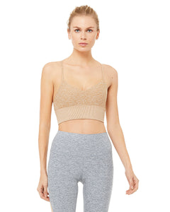 Alo Yoga XS Alosoft Lavish Bra - Caramel Heather