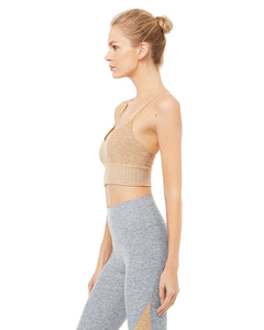 Alo Yoga MEDIUM Alosoft Lavish Bra - Caramel Heather