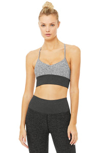 Alo Yoga MEDIUM Alosoft Lavish Bra - Dove Grey Heather/ Dark Heather Grey