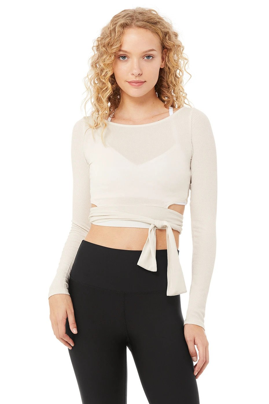 Alo Yoga XS Barre Long Sleeve - Bone