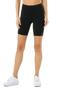 Alo Yoga SMALL High-Waist Biker Short - Black