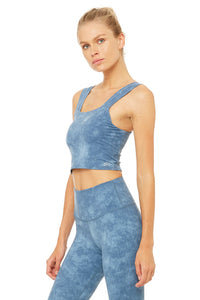 Alo Yoga Bind Fitted Bra Tank - Denim Acid Wash