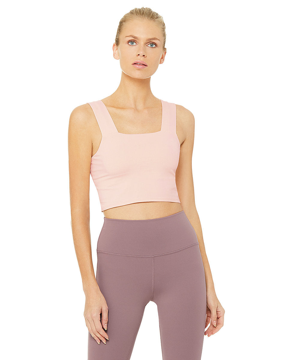 Alo Yoga SMALL Bind Fitted Bra Tank - Nectar