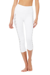 Alo Yoga Chevron Capri - White