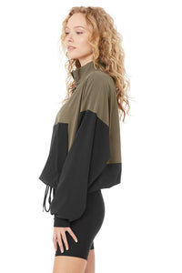 Alo Yoga SMALL City Girl Track Pullover - Olive Branch/Black