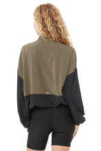Load image into Gallery viewer, Alo Yoga SMALL City Girl Track Pullover - Olive Branch/Black