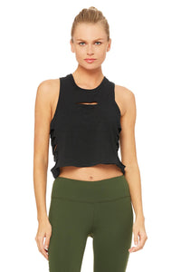 Alo Yoga Cut It Out Cropped Tank - Black