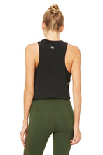 Load image into Gallery viewer, Alo Yoga Cut It Out Cropped Tank - Black