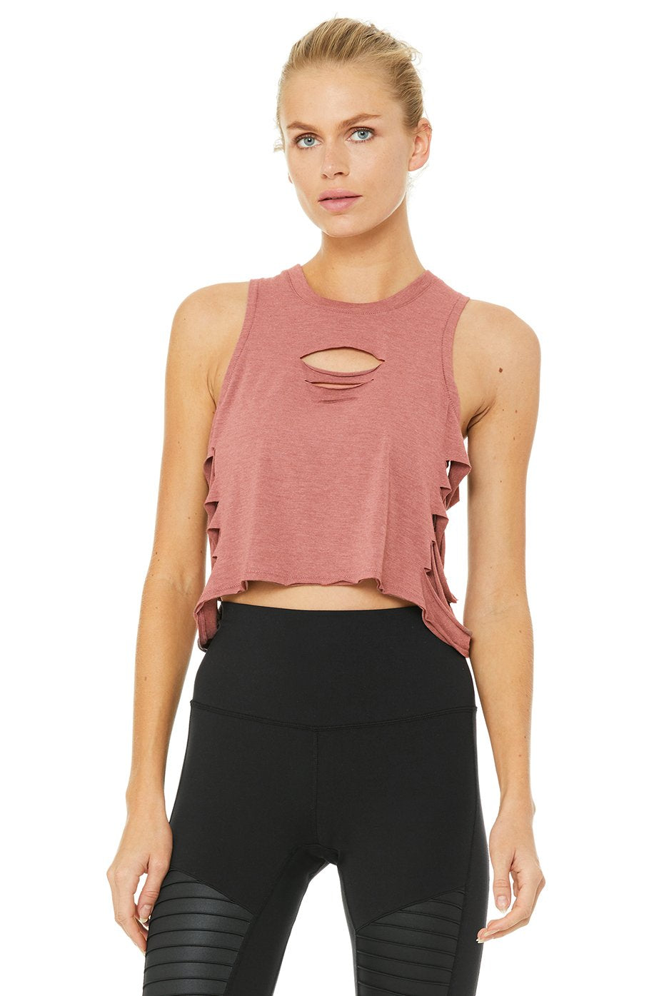 Alo Yoga Cut It Out Cropped Tank - Rosewater Heather