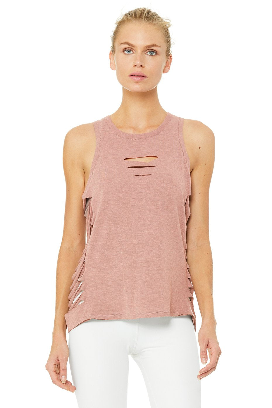 Alo Yoga Cut It Out Long Tank - Rosewater Heather