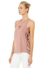 Load image into Gallery viewer, Alo Yoga Cut It Out Long Tank - Rosewater Heather
