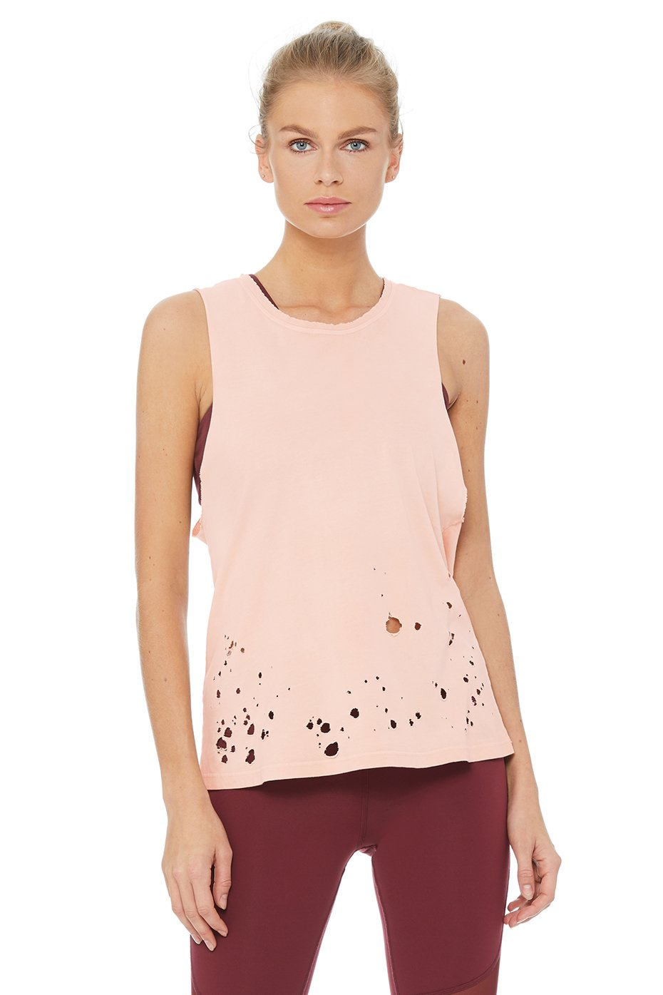 Alo Yoga SMALL Distressed Tank - Nectar
