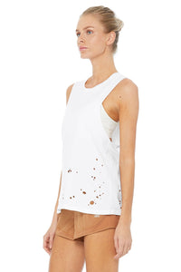 Alo Yoga SMALL Distressed Tank - White