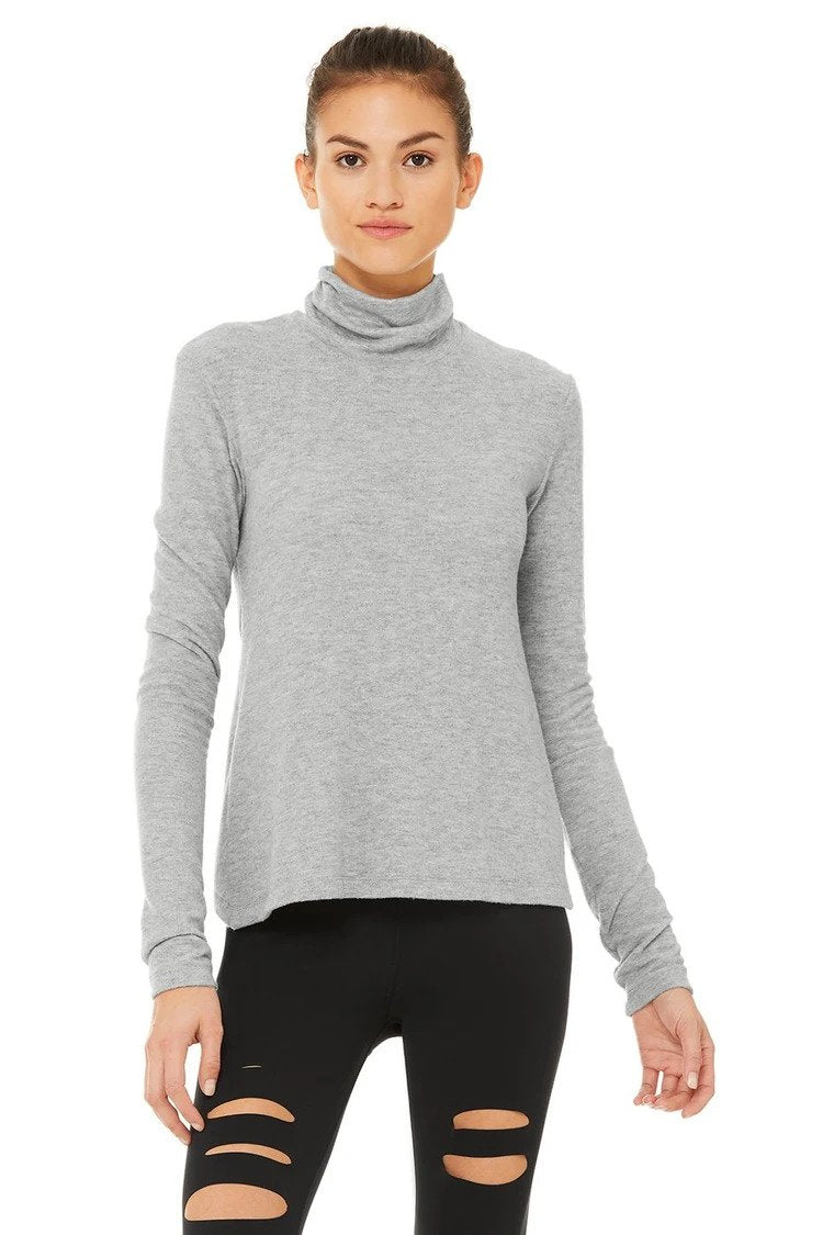 Alo Yoga SMALL Embrace Long Sleeve - Dove Grey Heather