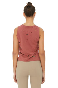 Alo Yoga Harley Muscle Tank - Earth Distress Holes