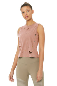 Alo Yoga Harey Muscle Tank - Smoky Quartz / Distress Holes