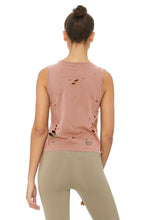 Load image into Gallery viewer, Alo Yoga Harey Muscle Tank - Smoky Quartz / Distress Holes