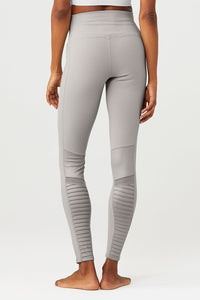Alo Yoga XXS High-Waist Moto Legging - Alloy Glossy