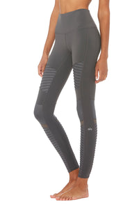 Alo Yoga XS High-Waist Moto Legging - Anthracite Glossy